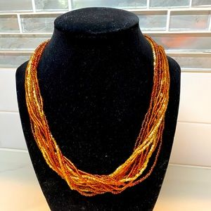 """Gorgeous beaded strand necklace in golden hues 18"""""""